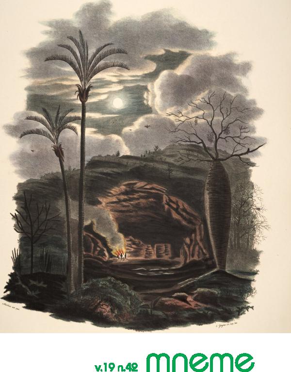 Imagem produzida pelo pesquisador alemão Carl Friedrich Philipp von Martius em que vemos duas palmeiras, uma árvore chamada barriguda e pessoas em uma fogueira